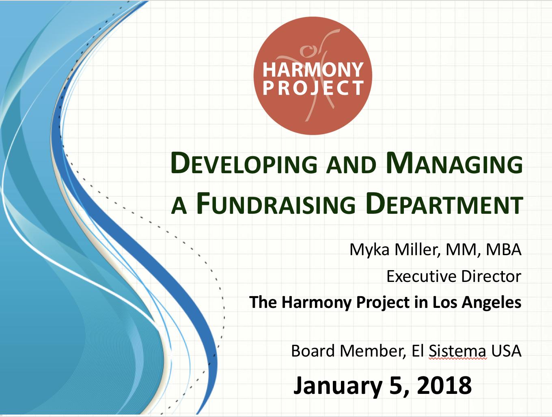 Webinar: Myka Miller On Developing A Fundraising Department – January 2018
